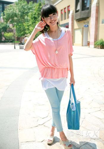 Pink loose shirt matching leggings